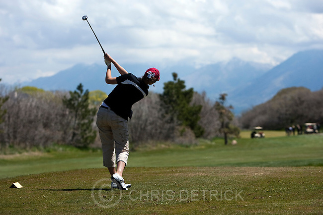 Photo by Chris Detrick | The Salt Lake Tribune .Weber's Tara Green tees off on the fourth hole during the 5A Girls Golf High School State Championship at Glenmoor Golf Course Wednesday May 11, 2011.