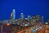 Philadelphia PA; Hotels; Skyline;  Schuylkill Expressway, Buildings lit;, Dusk; Night; large city; United States