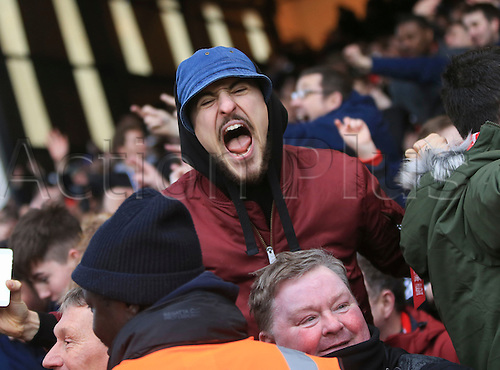 06.03.2016. Selhurst Park, London, England. Barclays Premier League. Crystal Palace versus Liverpool. Liverpool fans celebrate their last minute winner.