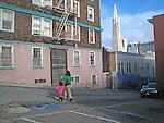 The back alley ways of North Beach, San Francisco, California.