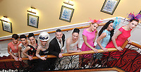 26-02-12:  Models from the Norma O'Donoghue Modelling Agency  at the  'UNVEILED' wedding showcase and catwalk  fashion show at Killarney's Dromhall Hotel on Sunday. From left are Mags Kelleher, Jennifer Lenihan, Rieleen Weissels, Victoria Tynan, Adrian O'Sullivan, Norma O'Donoghue, Joanne O'Connor, Aoife Begley and Chloe Buckle. Picture: Eamonn Keogh (MacMonagle, Killarney)