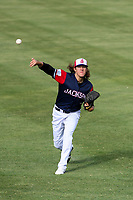 Jackson Generals pitcher Connor Grey (6) warms up in the outfield prior to a Southern League game against the Biloxi Shuckers on June 14, 2019 at The Ballpark at Jackson in Jackson, Tennessee. Jackson defeated Biloxi 4-3. (Brad Krause/Four Seam Images)