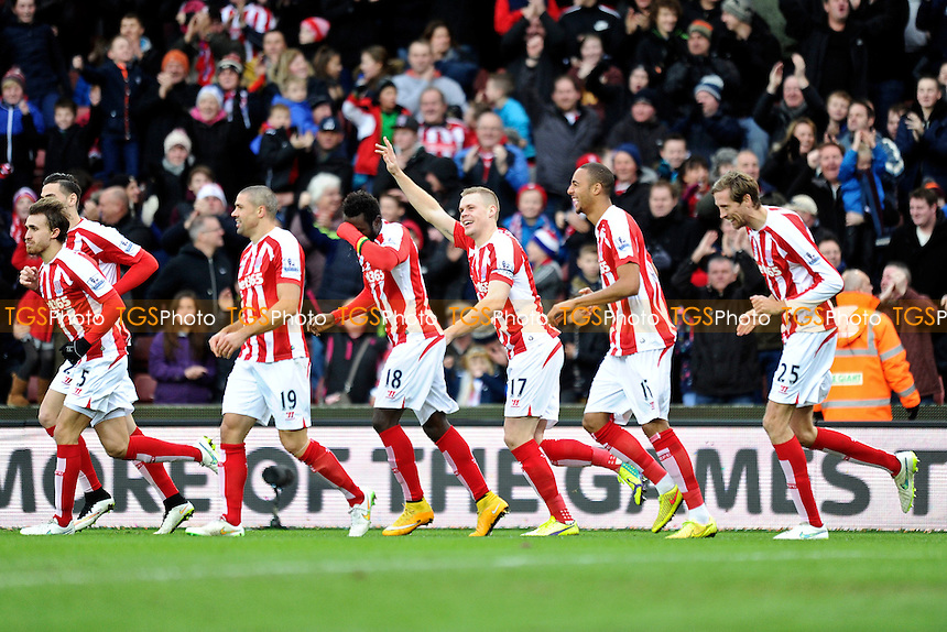 Ryan Shawcross (3rd from right) of Stoke City celebrates his goal with teammates - Stoke City vs Manchester United - Barclays Premier League Football at the Britannia Stadium, Stoke-on-Trent - 01/01/15 - MANDATORY CREDIT: Greig Bertram/TGSPHOTO - Self billing applies where appropriate - contact@tgsphoto.co.uk - NO UNPAID USE