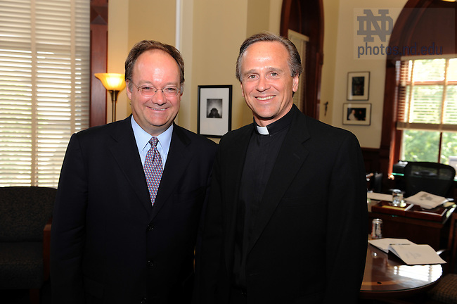 John J. DeGioia, president of Georgetown University and a member of the Knight Commission on Intercollegiate Athletics poses with Notre Dame President Rev. John I. Jenkins, C.S.C. before his talk to the Faculty Board on Athletics...Photo by Matt Cashore/University of Notre Dame