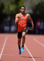 Apr 11, 2015; Los Angeles, CA, USA; Alex Nieves of Occidental College places fourth in the 400m in 50.03 in a SCIAC multi dual meet at Occidental College. Photo by Kirby Lee