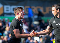 Ben Smith (right) congratulates George Bridge on a try during the international rugby union match between the New Zealand All Blacks and Tonga at FMG Stadium in Hamilton, New Zealand on Saturday, 7 September 2019. Photo: Dave Lintott / lintottphoto.co.nz