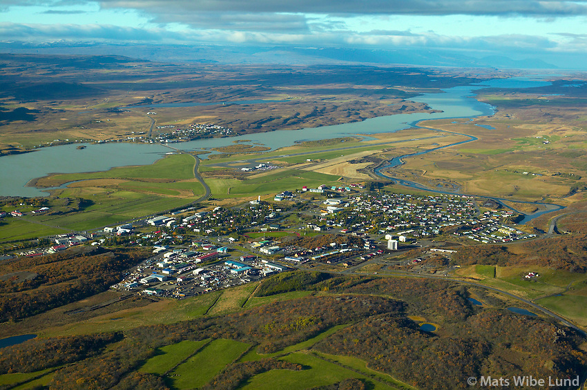 Egilsstaðir, Austurhérað séð til norðvesturs, Lagarfljót og Fellabær - Fljótsdalshérað áður Fellahreppur /.Egilsstadir viewing northwest towards Fellabaer, Fljotsdalsherad former Fellahreppur.