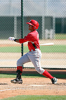 Jose Castro #25 of the Cincinnati Reds plays in a minor league spring training game against the Cleveland Indians at the Indians complex on March 26, 2011 in Goodyear, Arizona. .Photo by:  Bill Mitchell/Four Seam Images.