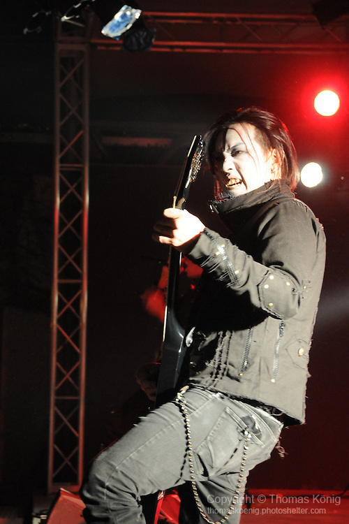 Chthonic Concert, Kaohsiung -- Chthonic guitarist Jesse Liu, aka The Infernal, on stage during a performance at The Wall.