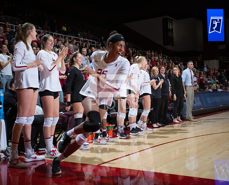 STANFORD, CA - December 1, 2017: Courtney Bowen at Maples Pavilion. The Stanford Cardinal defeated the CSU Bakersfield Roadrunners 3-0 in the first round of the NCAA tournament.
