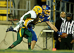 BROOKINGS, SD - OCTOBER 3:  Dallas Goedert #86 from South Dakota State stretches the ball across the goal line in front of Tre Dempsey #3 from North Dakota State in the third quarter of their game Saturday night at Coughlin Alumni Stadium in Brookings. (Photo by Dave Eggen/Inertia)