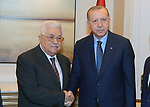 Palestinian President Mahmoud Abbas meets with Turkey President Recep Tayyip Erdogan, on the sidelines of the General Debate of the 73rd session of the General Assembly at the United Nations, in New York on September 26, 2018. Photo by Thaer Ganaim