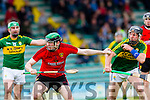 In Action Downs Conor Cassidy and Kerry's John Egan at the Kerry v Down in the Christy Ring Cup Round 1 at Austin Stack Park on Saturday