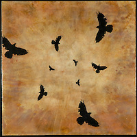Murder of crows in mixed media encaustic photo transfer by Jeff League.