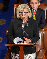 United States Representative Liz Cheney (Republican of Wyoming) makes a speech nominating US House Minority Leader Kevin McCarthy (Republican of California) to be Speaker of the US House as the 116th Congress convenes for its opening session in the US House Chamber of the US Capitol in Washington, DC on Thursday, January 3, 2019. Photo Credit: Ron Sachs/CNP/AdMedia