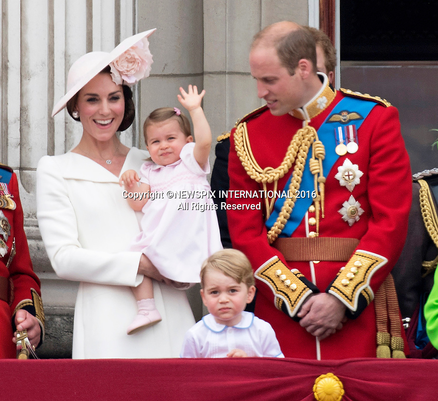 PRINCESS CHARLOTTE<br /> The daughter of the Duke and Duchess of Cambridge will be 2-years-old on the 2nd of May 2017.<br /> These images are a retrospective from birth to the present, showing the Princess on the rare public appearances.<br /> <br /> 11.06.2016; London, UK: QUEEN&rsquo;S 90TH OFFICIAL BIRTHDAY<br /> Most members of the British Royal Family joined the Queen for the Trooping The Colour that marks her official birthday.<br /> It was also the first time that 1-year-old Princess Charlotte made and appearnce on the Buckingham Palace balcony.<br /> Royals present included the Duke of Edinburgh, Prince Charles and Camilla, Duchess of Cornwall, Prince William, Kate Middleton, Prince George; Princess Charlotte; Prince Harry, Prince Andrew; Princess Beatrice, Princess Eugenie, Prince Edward, Sophie Wessex, Viscount Severn, Lady Louise Mountbatten-Windsor, Princess Anne, Zara Phillips &amp; Mike Tindal, Prince and Princess Michael Of Kent, Lady Helen Taylor, Duke of Kent, Duke of Gloucester and Duchess of Gloucester,Peter Phillips and Autumn and Lady Amelia Windsor.<br /> Mandatory Credit Photo: &copy;Francis Dias/NEWSPIX INTERNATIONAL<br /> <br /> IMMEDIATE CONFIRMATION OF USAGE REQUIRED:<br /> Newspix International, 31 Chinnery Hill, Bishop's Stortford, ENGLAND CM23 3PS<br /> Tel:+441279 324672  ; Fax: +441279656877<br /> Mobile:  07775681153<br /> e-mail: info@newspixinternational.co.uk<br /> Usage Implies Acceptance of Our Terms &amp; Conditions<br /> Please refer to usage terms. All Fees Payable To Newspix International