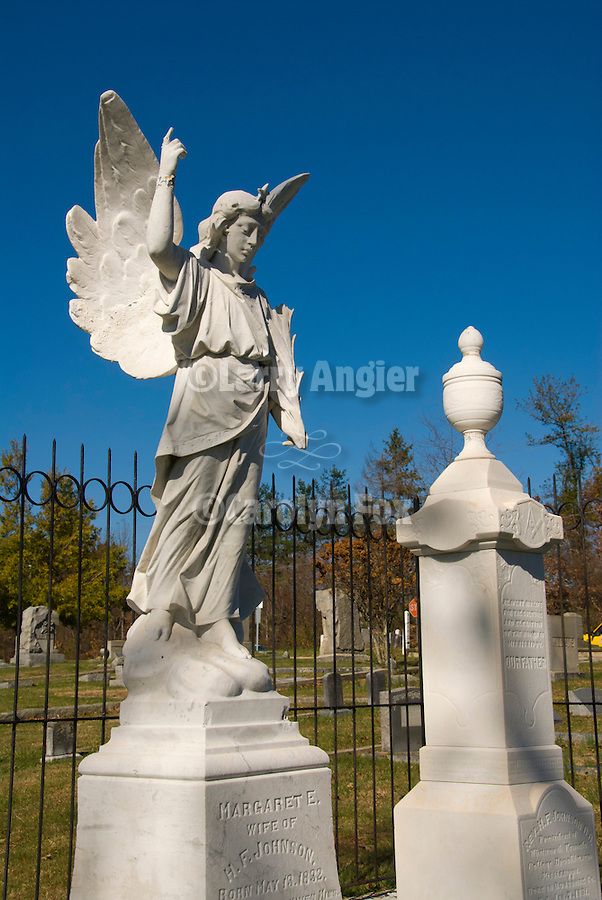 Thomas Wolfe's angel within the Hendersonville cemetery and headstones, Hendersonville, North Carolina.