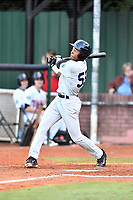 Pulaski Yankees center fielder Evan Alexander (58) swings at a pitch during game one of the Appalachian League Championship Series against the Elizabethton Twins at Joe O'Brien Field on September 7, 2017 in Elizabethton, Tennessee. The Twins defeated the Yankees 12-1. (Tony Farlow/Four Seam Images)