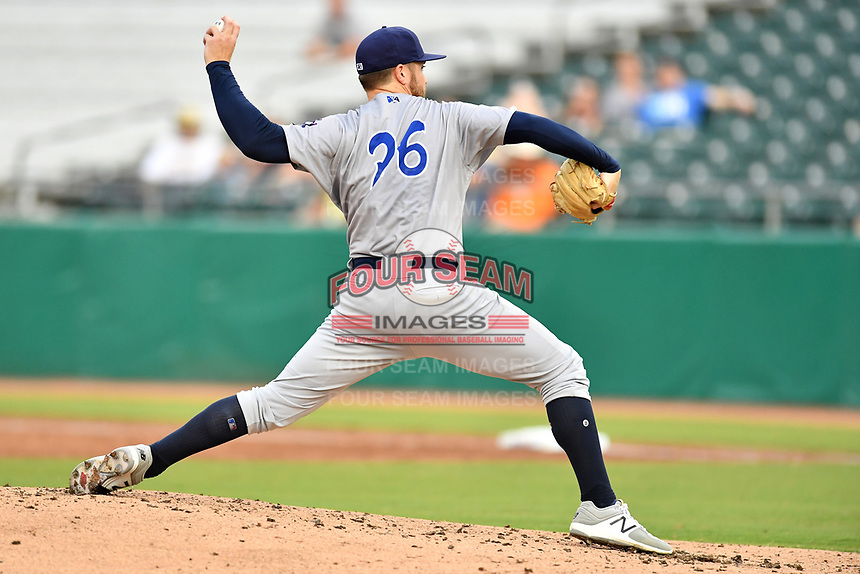 Pensacola Blue Wahoos starting pitcher Seth Varner (26) delivers a pitch during a game against the Tennessee Smokies at Smokies Stadium on August 30, 2018 in Kodak, Tennessee. The Blue Wahoos defeated the Smokies 5-1. (Tony Farlow/Four Seam Images)