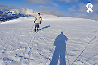 Two Skiers on snow field, French Alps, France (Licence this image exclusively with Getty: http://www.gettyimages.com/detail/92907743 )