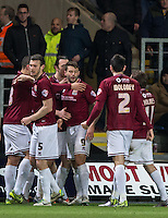 Celebrations as Marc Richards (9) of Northampton Town scores from the winning goal from the penalty spot during the Sky Bet League 2 match between Oxford United and Northampton Town at the Kassam Stadium, Oxford, England on 16 February 2016. Photo by Andy Rowland.