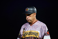 Rochester Red Wings manager Joel Skinner (35) during a game against the Lehigh Valley IronPigs on June 29, 2018 at Frontier Field in Rochester, New York.  Lehigh Valley defeated Rochester 2-1.  (Mike Janes/Four Seam Images)