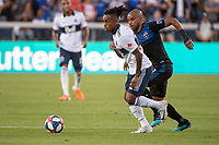 SAN JOSE, CA - AUGUST 24: Judson #93 of the San Jose Earthquakes chases Yordy Reyna #29 of the Vancouver Whitecaps during a game between Vancouver Whitecaps FC and San Jose Earthquakes at Avaya Stadium on August 24, 2019 in San Jose, California.