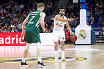 Real Madrid's Facundo Campazzo and Zalgiris' coach Sarunas Jasikevicius during Euroligue match between Real Madrid and Zalgiris Kaunas at Wizink Center in Madrid, Spain. April 4, 2019.  (ALTERPHOTOS/Alconada)