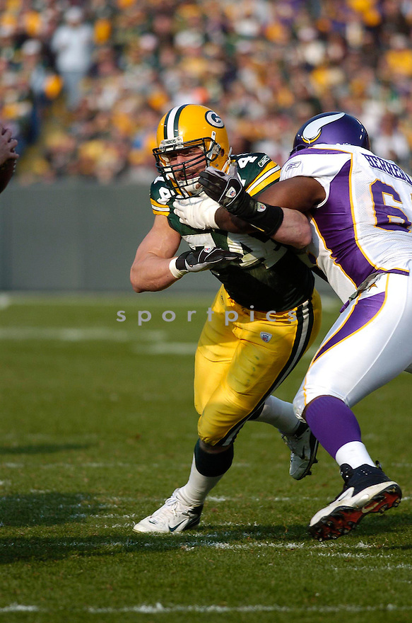 AARON KAMPMAN, of the Green Bay Packers, in action during the Packers game against the Minnesota Vikings on November 11, 2007 in Green Bay, Wisconsin...Packers win 34-0...SportPics