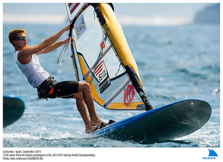 20140912, Santander, Spain: 2014 ISAF SAILING WORLD CHAMPIONSHIPS - More than 1,250 sailors in over 900 boats from 84 nations will compete at the Santander 2014 ISAF Sailing World Championships from 8-21 September 2014. The best sailing talent will be on show and as well as world titles being awarded across ten events 50% of Rio 2016 Olympic Sailing Competition places will be won based on results in Santander. Boat class and Sailor(s): RS:X Men - USA75 - Carson Crain. Photo: Mick Anderson/SAILINGPIX.DK.