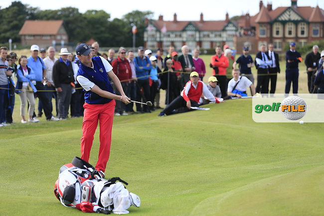 Jordan Niebrugge (USA) on the 17th during the afternoon singles for the Walker cup Royal Lytham St Annes, Lytham St Annes, Lancashire, England. 13/09/2015<br /> Picture Golffile | Fran Caffrey<br /> <br /> <br /> All photo usage must carry mandatory copyright credit (&copy; Golffile | Fran Caffrey)
