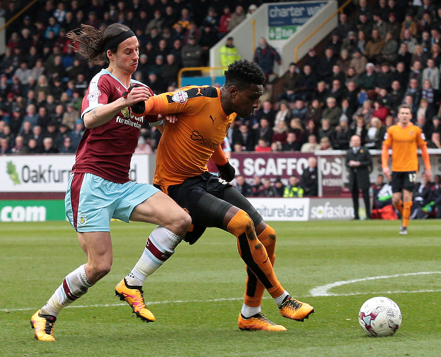 Burnley's George Boyd battles with Wolverhampton Wanderers' Kortney Hause<br /> <br /> Photographer David Shipman/CameraSport<br /> <br /> Football - The Football League Sky Bet Championship - Burnley v Wolverhampton Wanderers - Saturday 19th March 2016 - Turf Moor - Burnley<br /> <br /> &copy; CameraSport - 43 Linden Ave. Countesthorpe. Leicester. England. LE8 5PG - Tel: +44 (0) 116 277 4147 - admin@camerasport.com - www.camerasport.com