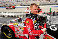 May 31, 2008; Dover, DE, USA; Nascar Nationwide Series driver Jason Leffler during the Heluva Good 200 at the Dover International Speedway. Mandatory Credit: Mark J. Rebilas-