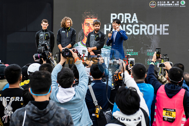 Bora-Hansgrohe at the team presentation before the start of the 2018 Shanghai Criterium, Shanghai, China. 17th November 2018.<br /> Picture: ASO/Alex Broadway | Cyclefile<br /> <br /> <br /> All photos usage must carry mandatory copyright credit (© Cyclefile | ASO/Alex Broadway)
