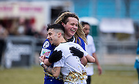 DAPPY hugs LUKE FRIEND during the SOCCER SIX Celebrity Football Event at the Queen Elizabeth Olympic Park, London, England on 26 March 2016. Photo by Andy Rowland.