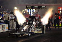 Apr 7, 2006; Las Vegas, NV, USA; NHRA Top Fuel driver Doug Kalitta launches off the starting line during qualifying for the Summitracing.com Nationals at Las Vegas Motor Speedway in Las Vegas, NV. Mandatory Credit: Mark J. Rebilas