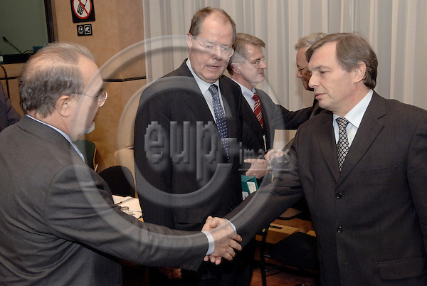 Brussels-Belgium - 05 December 2005---The twelve Ministers for Finance/Economy representing the Eurozone meet as Eurogroup; here, Pedro SOLBES MIRA (le), Second Deputy Prime Minister and Minister for Economic Affairs and Finance of Spain; Peer STEINBRÜCK (Steinbrueck) (ce), Federal Minister for Finance of Germany; Jeannot KRECKÉ (Krecke) (ri), Minister for Economic Affairs and Foreign Trade of Luxembourg---Photo: Horst Wagner/eup-images