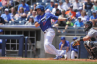 Tulsa Drillers Drew Maggi (37) swings during the game against the Northwest Arkansas Naturals at Oneok Stadium on May 1, 2016 in Tulsa, Oklahoma.  Northwest Arkansas won 7-5.  (Dennis Hubbard/Four Seam Images)