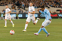Melbourne, 21 July 2015 - Raheem Sterling of Manchester City kicks for goal and scores in game two of the International Champions Cup match at the Melbourne Cricket Ground, Australia. City def Roma 5-4 in Penalties. (Photo Sydney Low / AsteriskImages.com)