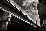 Convergence #2, Black & white of highway overpass & support,