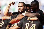 Valencia CF's Mario Suarez celebrates goal with his partners during La Liga match. September 25,2016. (ALTERPHOTOS/Acero)