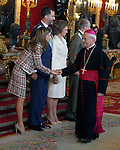 Princess Letizia of Spain, Prince Felipe of Spain, Queen Sofia of Spain, Juan Carlos I King of Spain and the Monsignor Renzo Fratini, apostolic nuncio in Spain attend the Royal Palace reception on the National Military Parade.October 12,2012.(ALTERPHOTOS/Pool)