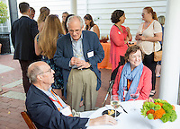 Alumni, faculty and staff gather at the Honored Guest Reception at Collins House as part of Occidental College's annual Alumni Reunion, Friday, June 12, 2015.<br /> (Photo by Marc Campos, Occidental College Photographer)