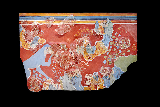 Minoan 'Blue Monkey' wall art fresco from the 'House of Frescoes' Knossos Palace, 1600-1500 BC. Heraklion Archaeological Museum. Black Background.