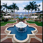 The fountain in the courtyard that marks the main entrance to the swimming pool at the Four Seasons Wailea in Maui, Hawaii