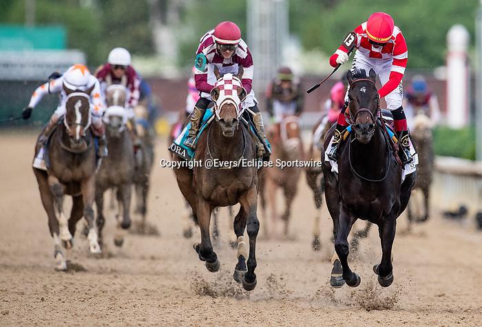 LOUISVILLE, KENTUCKY - MAY 03: Serengeti Empress with Jose Ortiz aboard wins the Kentucky Oaks at Churchill Downs in Louisville, Kentucky on May 03, 2019. Evers/Eclipse Sportswire/CSM