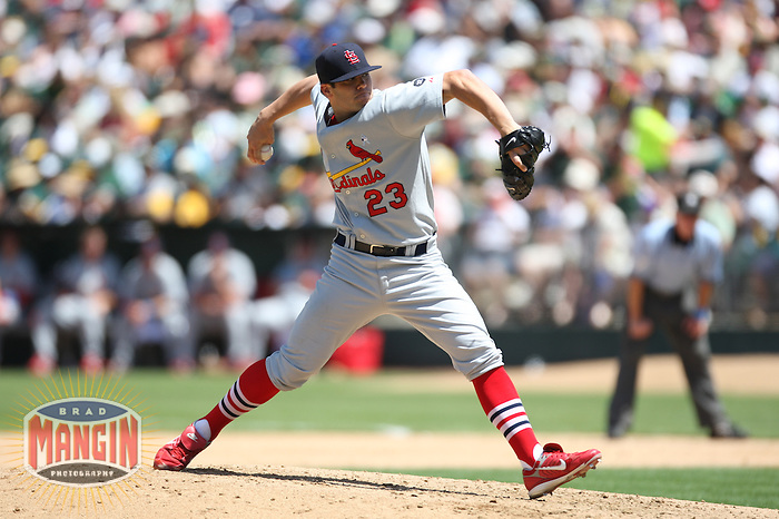 OAKLAND, CA - June 17:  Anthony Reyes of the St. Louis Cardinals pitches during the game against the Oakland Athletics at the McAfee Coliseum in Oakland, California on June 17, 2007.  The Cardinals defeated the Athletics 10-6.  Photo by Brad Mangin
