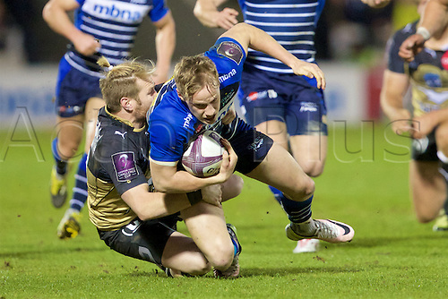 08.04.2016. AJ Bell Stadium, Salford, England. European Champions Cup. Sale versus Montpellier. Sale Sharks fullback Mike Haley is tackled by Montpellier fly-half Ben Lucas.