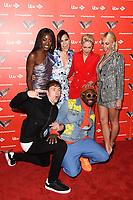 Aj Odudu, Danny Jones, Jessie J, Emma Willis, Pixie Lott and Will.i.Am<br /> at The Voice Kids 2019 photocall, London<br /> <br /> ©Ash Knotek  D3506  06/06/2019