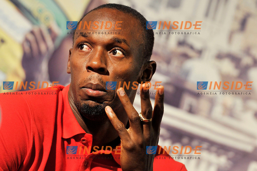 La conferenza stampa pre meeting di Usain Bolt.Golden Gala press conference.Roma 29/05/2012.Foto Insidefoto Antonietta Baldassarre